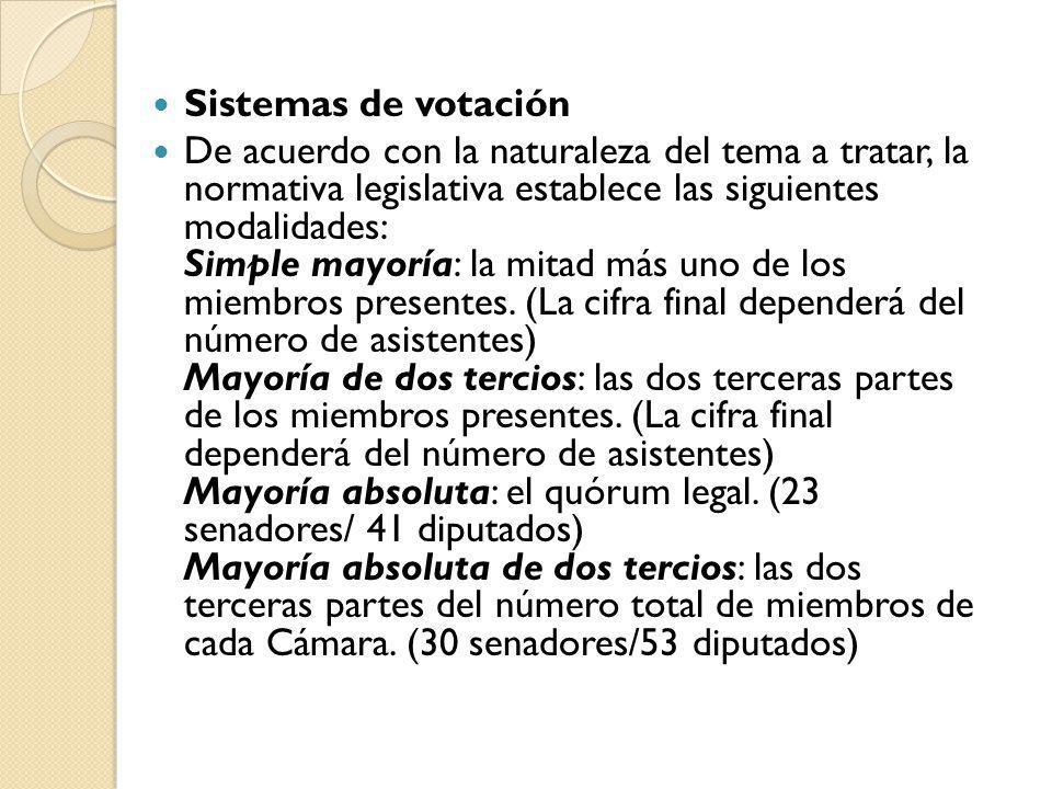 Sistemas de votación De acuerdo con la naturaleza del tema a tratar, la normativa legislativa establece las siguientes modalidades: Simple mayoría: la