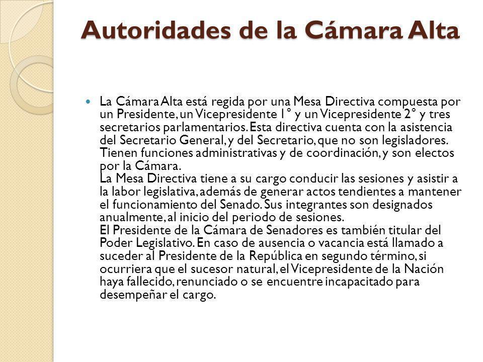Autoridades de la Cámara Alta La Cámara Alta está regida por una Mesa Directiva compuesta por un Presidente, un Vicepresidente 1° y un Vicepresidente