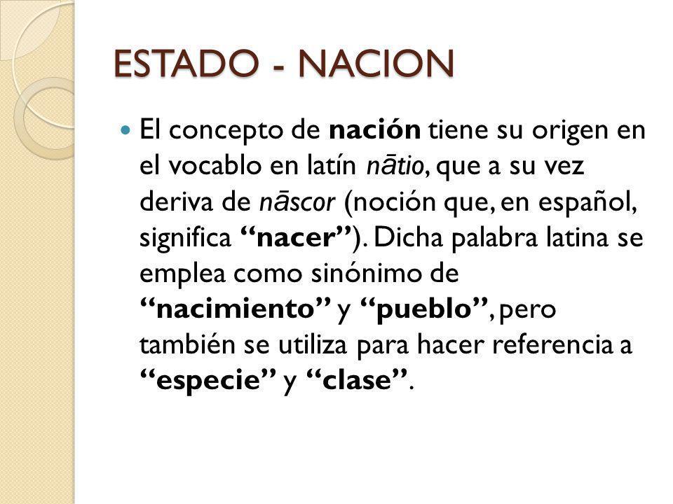 ESTADO - NACION El concepto de nación tiene su origen en el vocablo en latín n ā tio, que a su vez deriva de n ā scor (noción que, en español, signifi