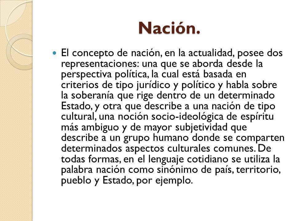 Nación. El concepto de nación, en la actualidad, posee dos representaciones: una que se aborda desde la perspectiva política, la cual está basada en c