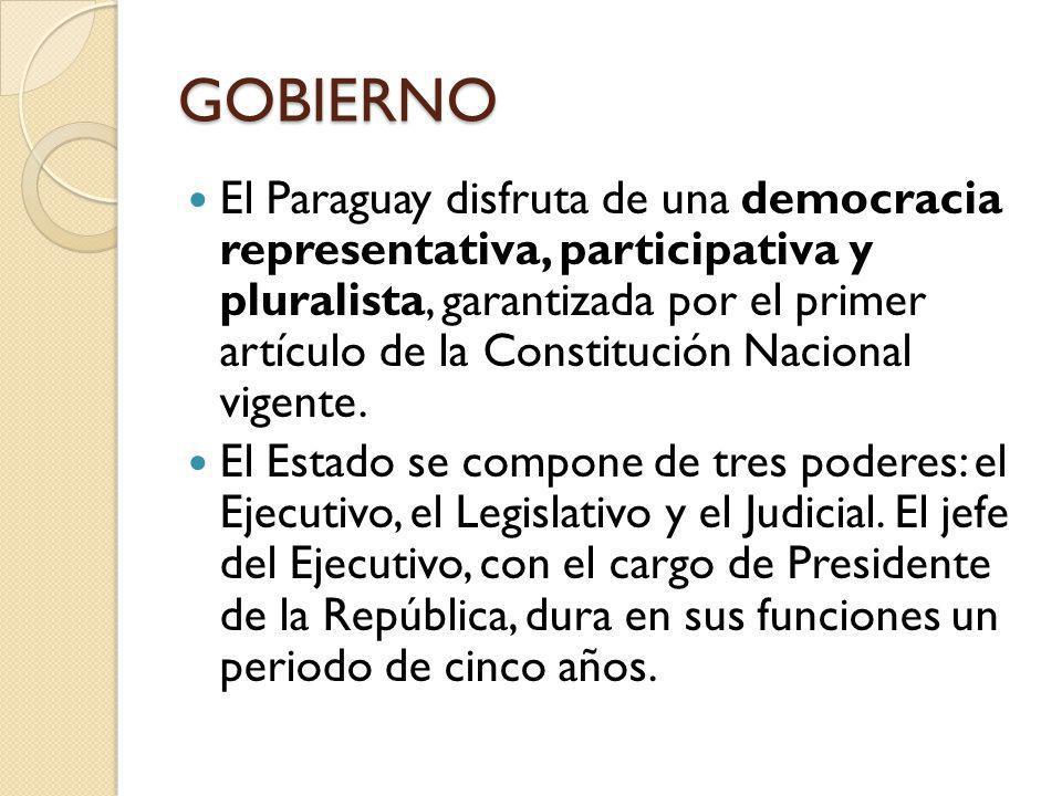 GOBIERNO El Paraguay disfruta de una democracia representativa, participativa y pluralista, garantizada por el primer artículo de la Constitución Naci
