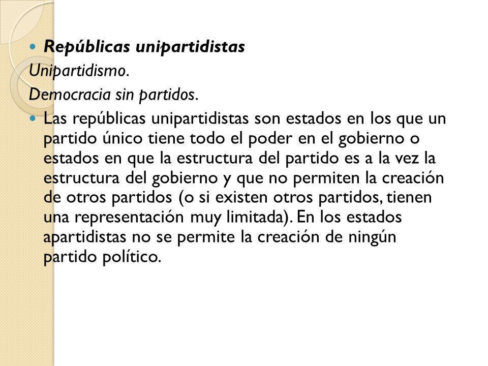 Repúblicas unipartidistas Unipartidismo. Democracia sin partidos. Las repúblicas unipartidistas son estados en los que un partido único tiene todo el