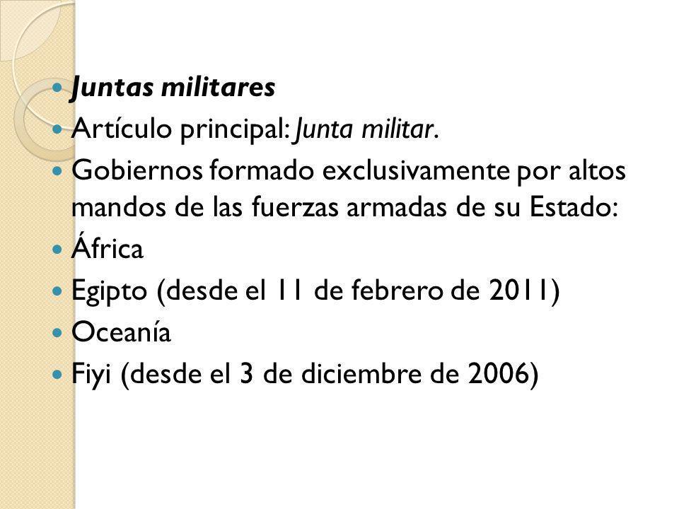 Juntas militares Artículo principal: Junta militar. Gobiernos formado exclusivamente por altos mandos de las fuerzas armadas de su Estado: África Egip
