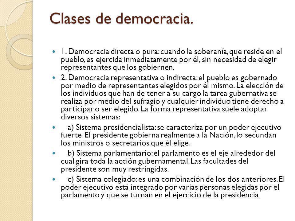 Clases de democracia. 1. Democracia directa o pura: cuando la soberanía, que reside en el pueblo, es ejercida inmediatamente por él, sin necesidad de
