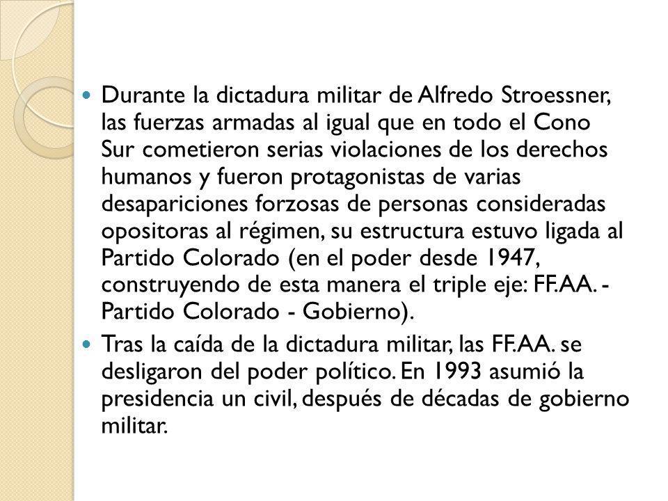 Tras la caída de la dictadura militar, las FF.AA. se desligaron del poder político. En 1993 asumió la presidencia un civil, después de décadas de gobi