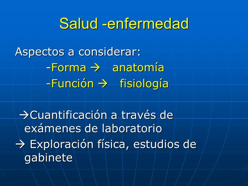Salud -enfermedad Aspectos a considerar: -Forma anatomía -Forma anatomía -Función fisiología -Función fisiología Cuantificación a través de exámenes d