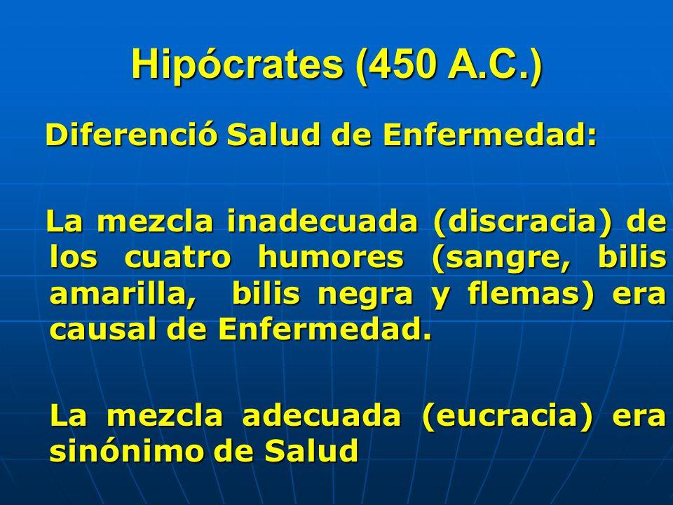 Hipócrates (450 A.C.) Diferenció Salud de Enfermedad: Diferenció Salud de Enfermedad: La mezcla inadecuada (discracia) de los cuatro humores (sangre,