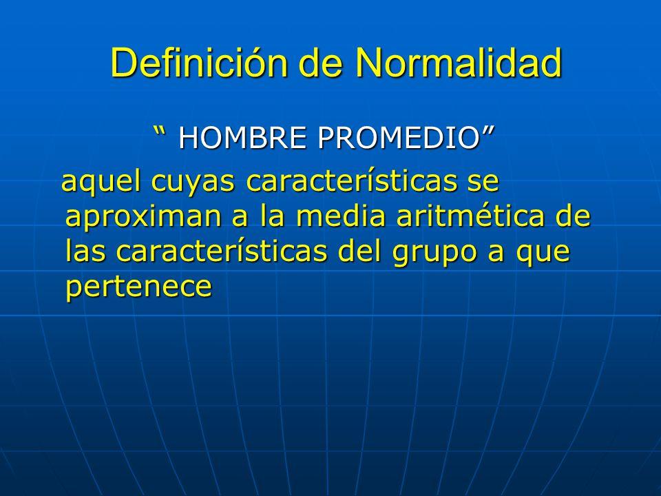 Definición de Normalidad Definición de Normalidad HOMBRE PROMEDIO HOMBRE PROMEDIO aquel cuyas características se aproximan a la media aritmética de la
