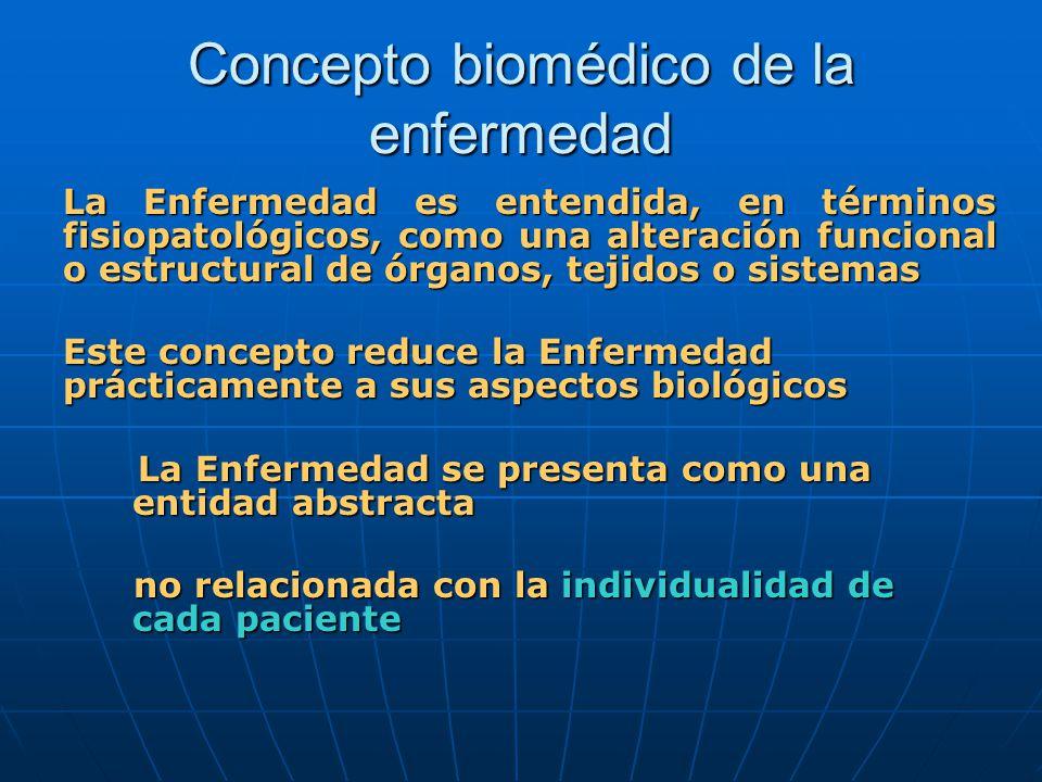 Concepto biomédico de la enfermedad La Enfermedad es entendida, en términos fisiopatológicos, como una alteración funcional o estructural de órganos,