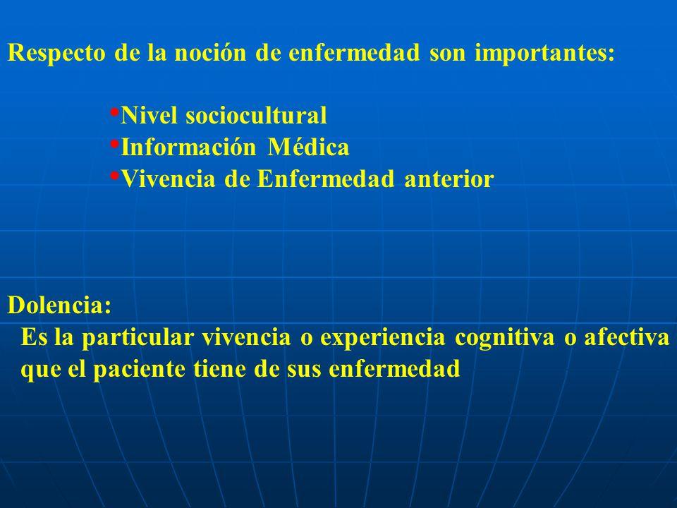 Respecto de la noción de enfermedad son importantes: Nivel sociocultural Información Médica Vivencia de Enfermedad anterior Dolencia: Es la particular