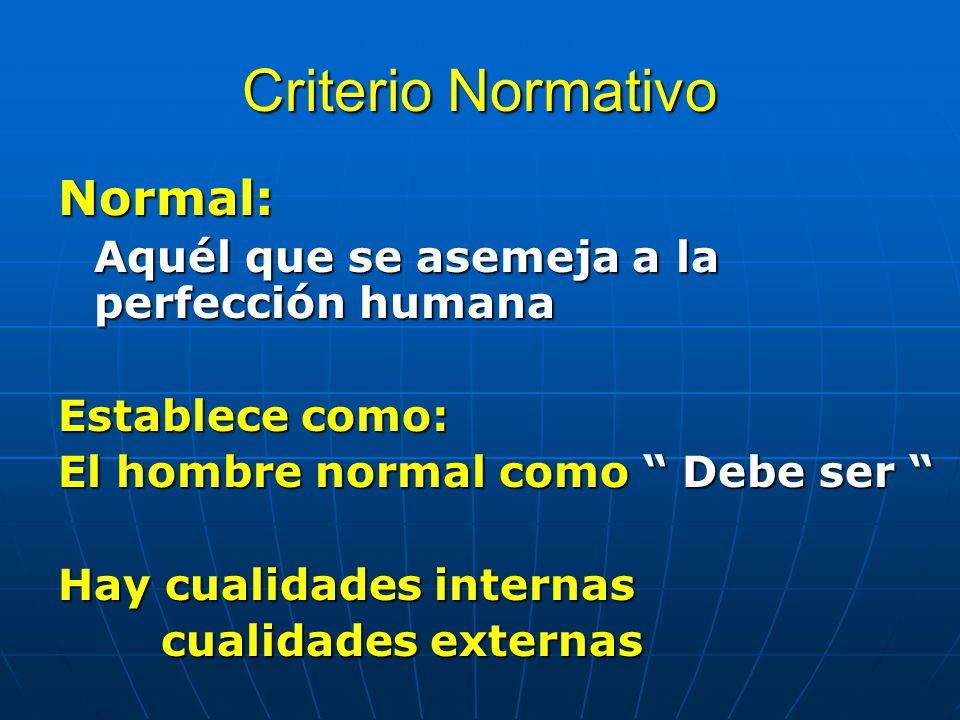 Criterio Normativo Normal: Aquél que se asemeja a la perfección humana Establece como: El hombre normal como Debe ser El hombre normal como Debe ser H