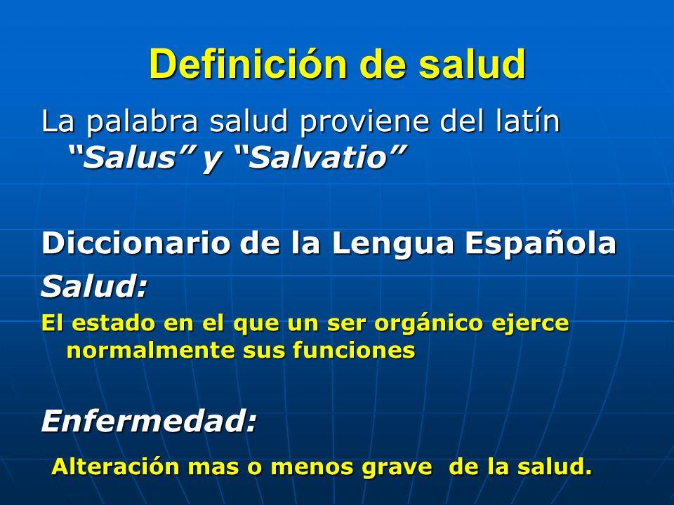 Definición de salud La palabra salud proviene del latín Salus y Salvatio Diccionario de la Lengua Española Salud: El estado en el que un ser orgánico