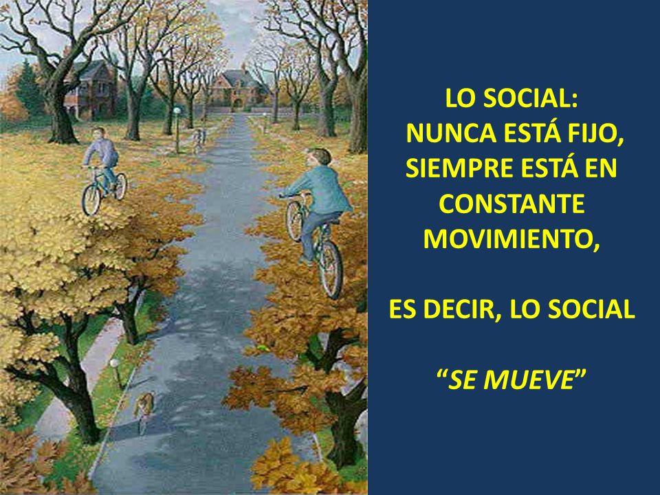 LO SOCIAL: NUNCA ESTÁ FIJO, SIEMPRE ESTÁ EN CONSTANTE MOVIMIENTO, ES DECIR, LO SOCIAL SE MUEVE