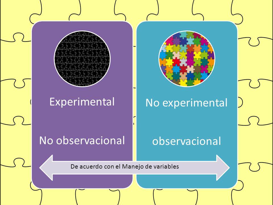 Experimental No observacional No experimental observacional De acuerdo con el Manejo de variables