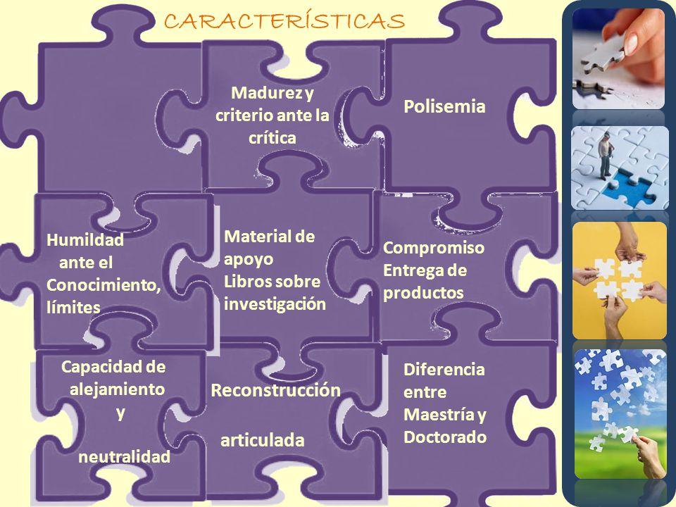 CARACTERÍSTICAS Madurez y criterio ante la crítica Humildad ante el Conocimiento, límites Capacidad de alejamiento y neutralidad Polisemia Reconstrucc