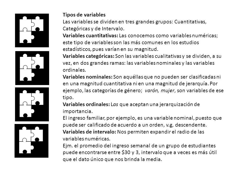 Tipos de variables Las variables se dividen en tres grandes grupos: Cuantitativas, Categóricas y de Intervalo. Variables cuantitativas: Las conocemos