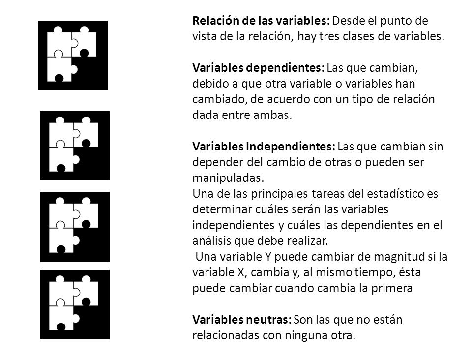 Relación de las variables: Desde el punto de vista de la relación, hay tres clases de variables. Variables dependientes: Las que cambian, debido a que