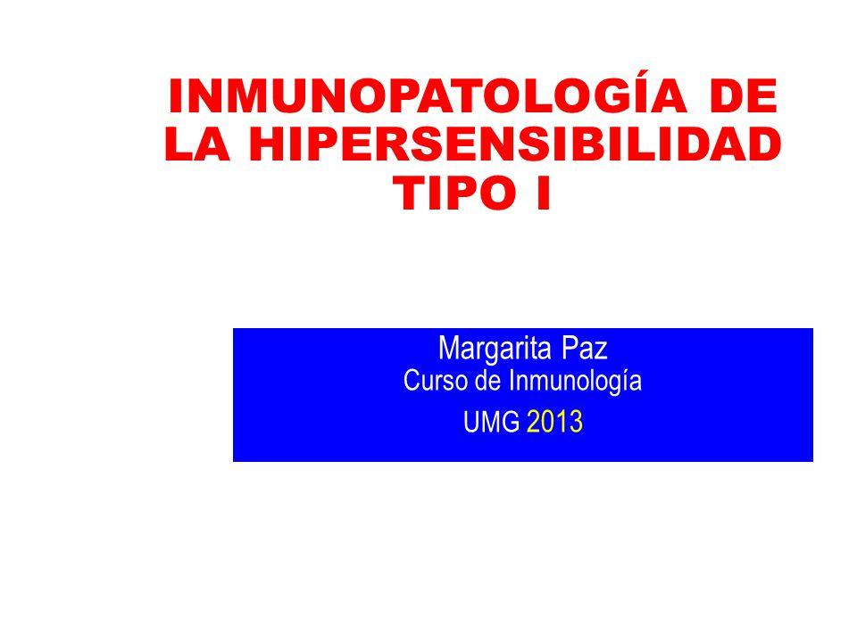 Mediadores de la reacción alérgica Reacción de fase tardía (inflamatoria 6-12 h) Prostaglandina E: Potente dilatador bronquial Prostaglandina F: Potente constrictor Leucotrieno E4 (SRS-A): Vasoreacción tardía Leucotrieno B4: Quimiotáctico para células inflamatorias agudas IL-5: Infiltración de eosinófilos IL-3 y GMC-SF