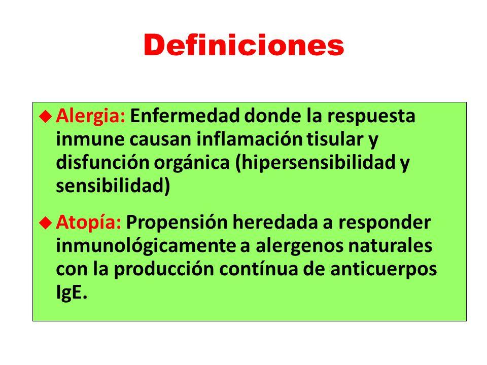 Definiciones Alergia: Enfermedad donde la respuesta inmune causan inflamación tisular y disfunción orgánica (hipersensibilidad y sensibilidad) Atopía: