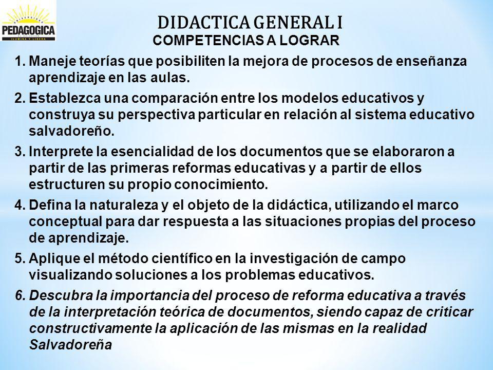 DIDACTICA GENERAL I COMPETENCIAS A LOGRAR 1.Maneje teorías que posibiliten la mejora de procesos de enseñanza aprendizaje en las aulas.