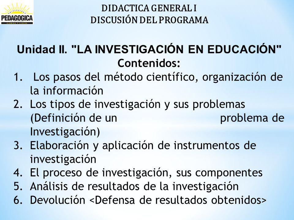 DIDACTICA GENERAL I DISCUSIÓN DEL PROGRAMA Unidad II.