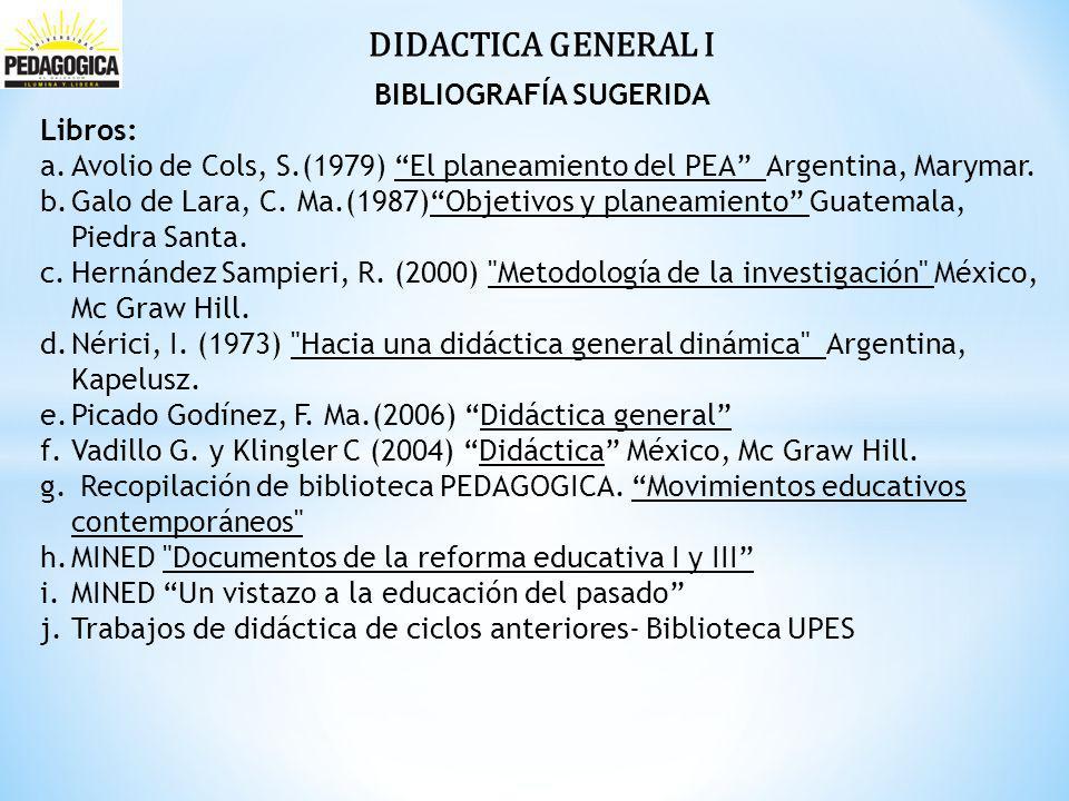 DIDACTICA GENERAL I BIBLIOGRAFÍA SUGERIDA Libros: a.Avolio de Cols, S.(1979) El planeamiento del PEA Argentina, Marymar.