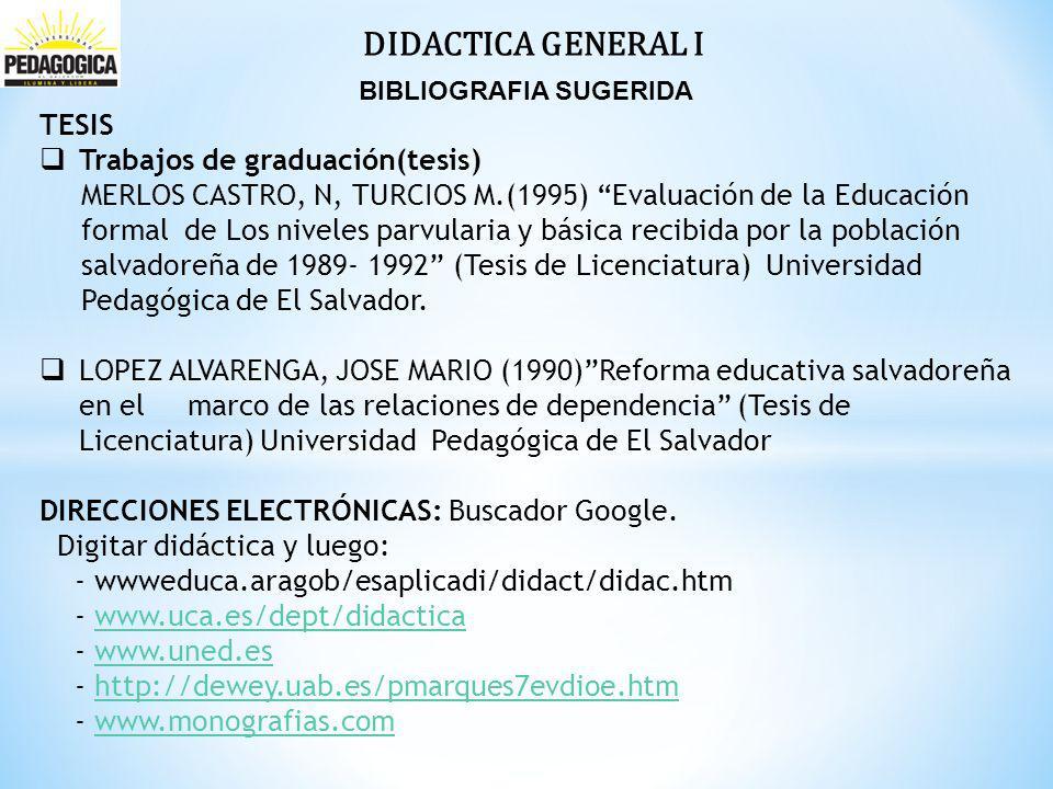 DIDACTICA GENERAL I BIBLIOGRAFIA SUGERIDA TESIS Trabajos de graduación(tesis) MERLOS CASTRO, N, TURCIOS M.(1995) Evaluación de la Educación formal de Los niveles parvularia y básica recibida por la población salvadoreña de 1989- 1992 (Tesis de Licenciatura) Universidad Pedagógica de El Salvador.