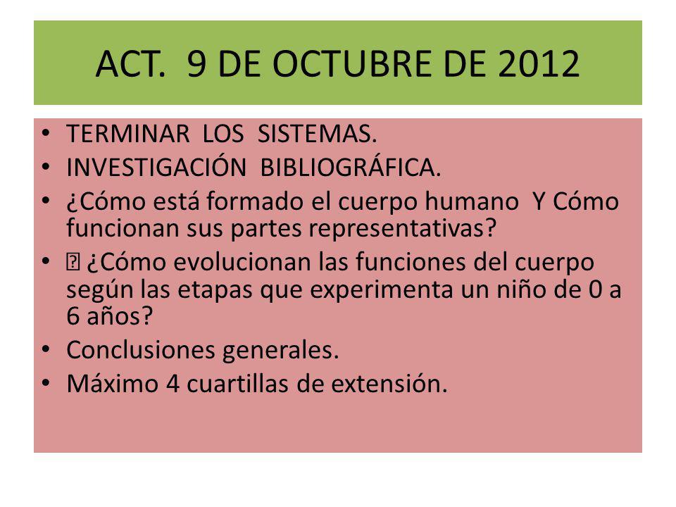 ACT. 9 DE OCTUBRE DE 2012 TERMINAR LOS SISTEMAS. INVESTIGACIÓN BIBLIOGRÁFICA. ¿Cómo está formado el cuerpo humano Y Cómo funcionan sus partes represen