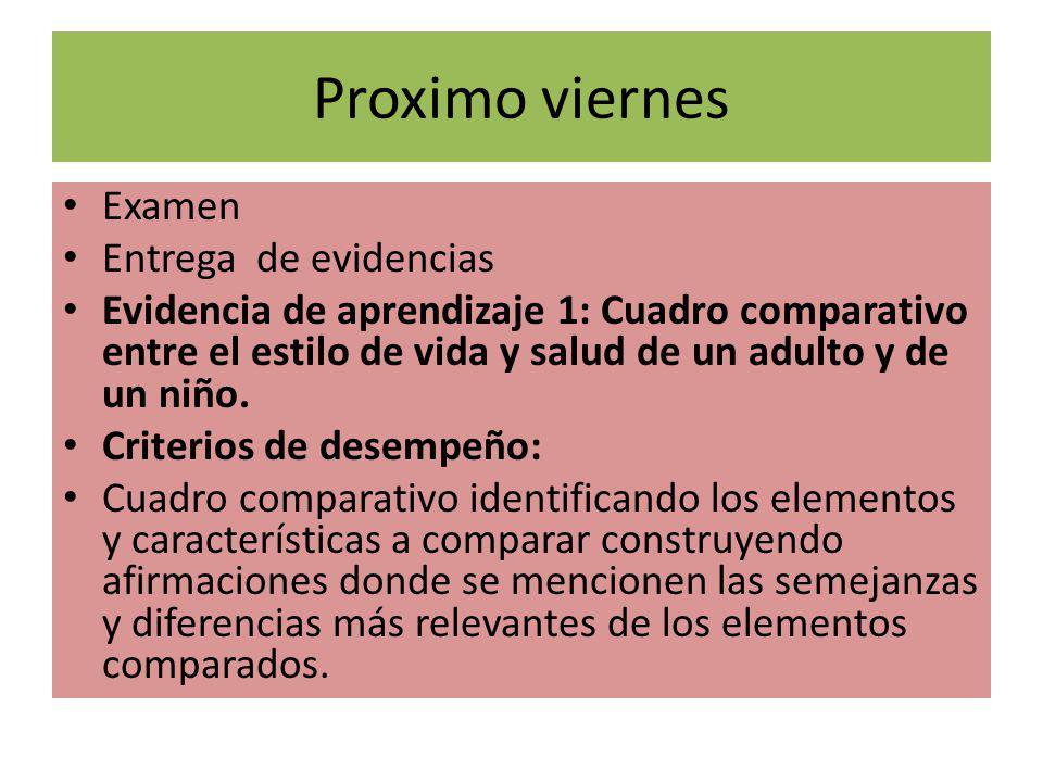 Proximo viernes Examen Entrega de evidencias Evidencia de aprendizaje 1: Cuadro comparativo entre el estilo de vida y salud de un adulto y de un niño.