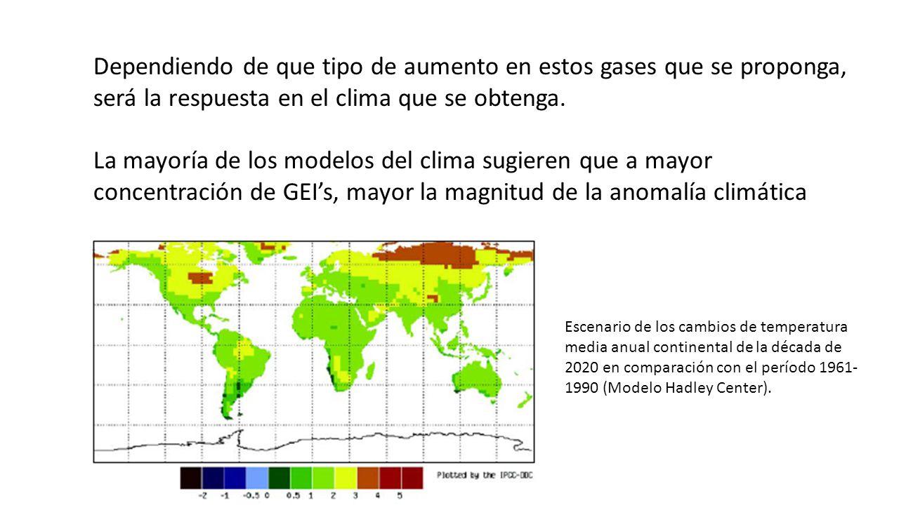 Dependiendo de que tipo de aumento en estos gases que se proponga, será la respuesta en el clima que se obtenga. La mayoría de los modelos del clima s