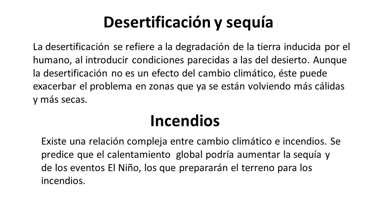 Desertificación y sequía La desertificación se refiere a la degradación de la tierra inducida por el humano, al introducir condiciones parecidas a las del desierto.
