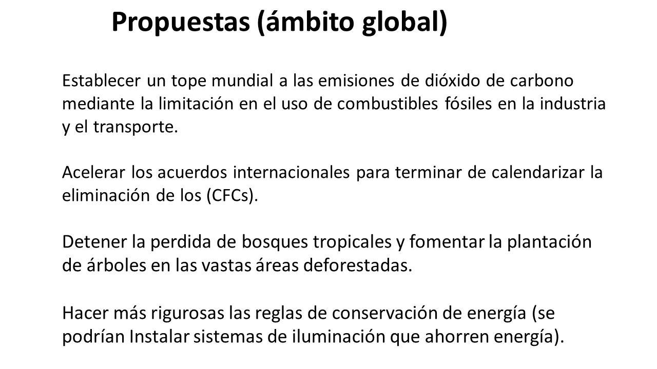 Propuestas (ámbito global) Establecer un tope mundial a las emisiones de dióxido de carbono mediante la limitación en el uso de combustibles fósiles en la industria y el transporte.