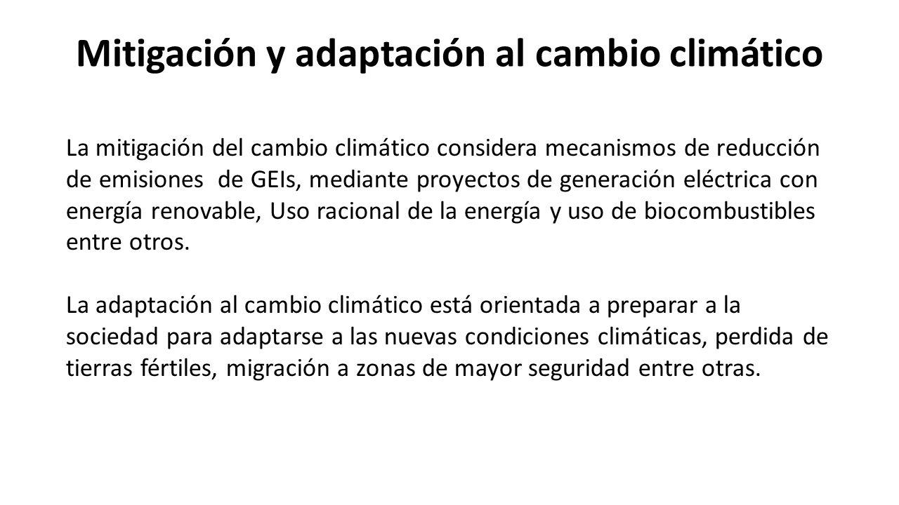Mitigación y adaptación al cambio climático La mitigación del cambio climático considera mecanismos de reducción de emisiones de GEIs, mediante proyectos de generación eléctrica con energía renovable, Uso racional de la energía y uso de biocombustibles entre otros.