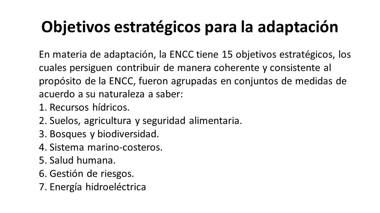 Objetivos estratégicos para la adaptación En materia de adaptación, la ENCC tiene 15 objetivos estratégicos, los cuales persiguen contribuir de manera coherente y consistente al propósito de la ENCC, fueron agrupadas en conjuntos de medidas de acuerdo a su naturaleza a saber: 1.Recursos hídricos.