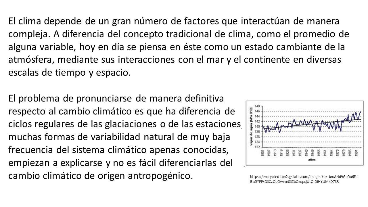 El clima depende de un gran número de factores que interactúan de manera compleja. A diferencia del concepto tradicional de clima, como el promedio de