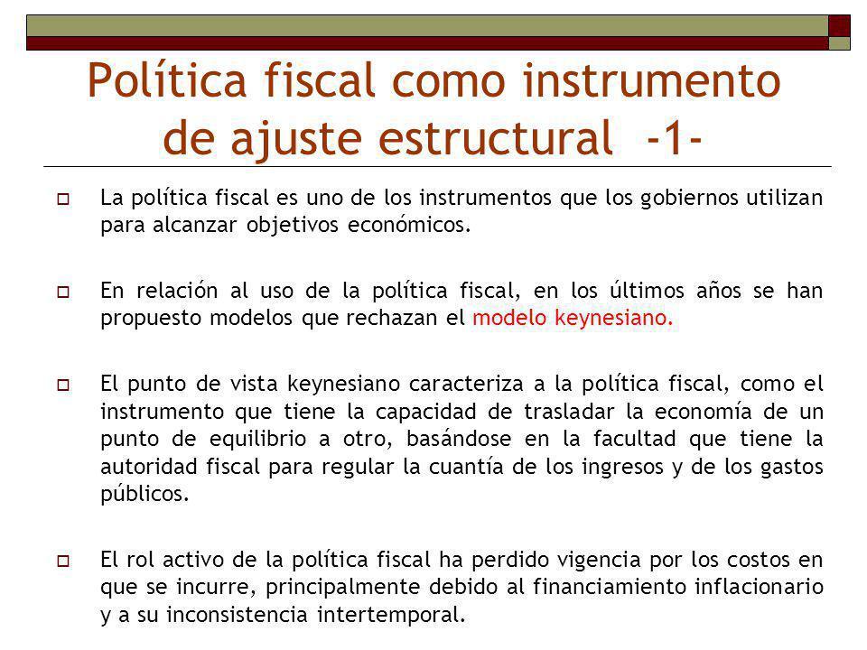 Los altos y persistentes déficits pueden indicar la existencia de la acumulación de deuda que puede ser utilizada como un instrumento de estrategia para limitar el espacio fiscal a futuros gobiernos (Alesina y Perotti, 1995).