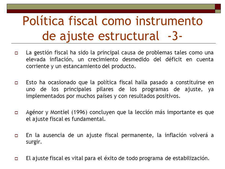 Política fiscal como instrumento de ajuste estructural -2- Por que no se puede aplicar PF expansiva en los países en desarrollo?.