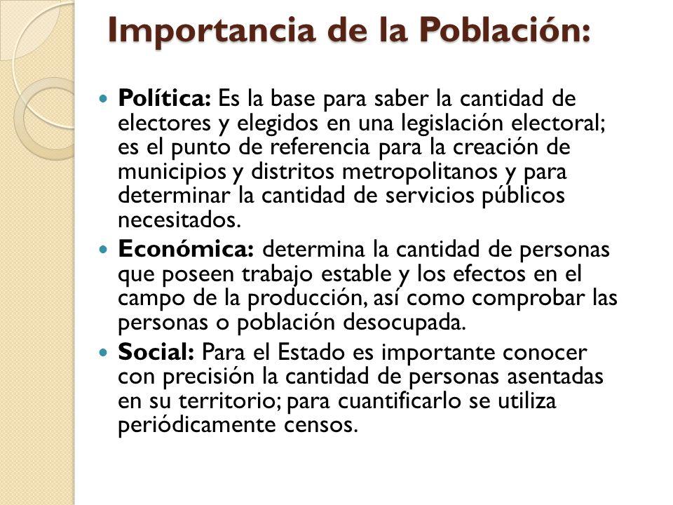 Importancia de la Población: Política: Es la base para saber la cantidad de electores y elegidos en una legislación electoral; es el punto de referenc
