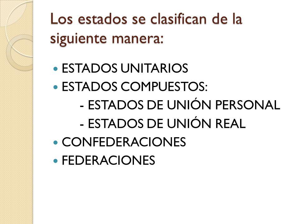 Los estados se clasifican de la siguiente manera: ESTADOS UNITARIOS ESTADOS COMPUESTOS: - ESTADOS DE UNIÓN PERSONAL - ESTADOS DE UNIÓN REAL CONFEDERAC