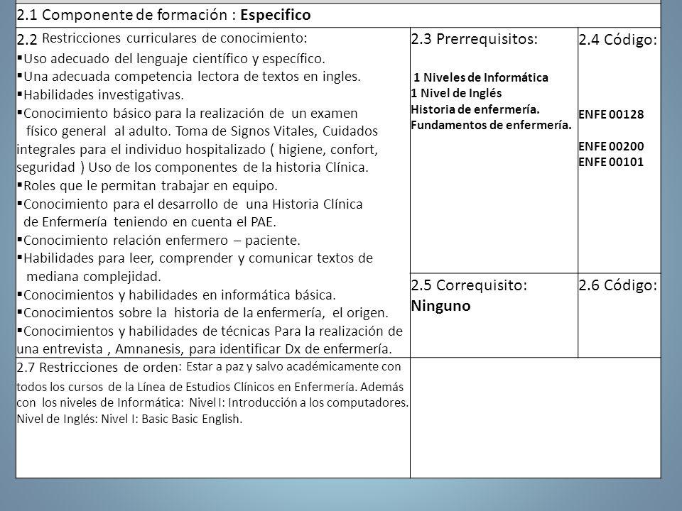 2. ARTICULACIÓN CON EL PLAN DE ESTUDIOS 2.1 Componente de formación : Especifico 2.2 Restricciones curriculares de conocimiento: Uso adecuado del leng