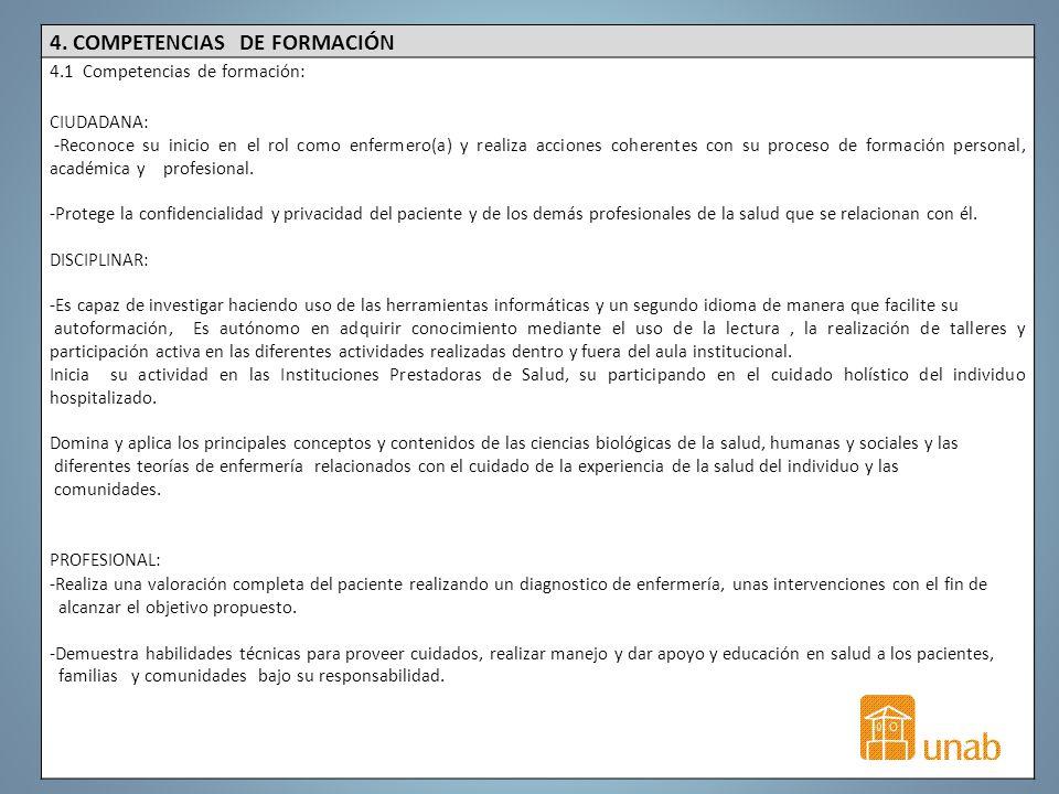 4. COMPETENCIAS DE FORMACIÓN 4.1 Competencias de formación: CIUDADANA: -Reconoce su inicio en el rol como enfermero(a) y realiza acciones coherentes c