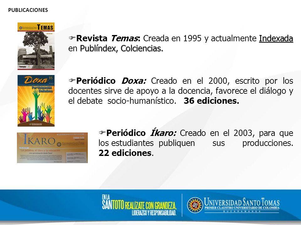 PUBLICACIONES Indexada Publíndex, Colciencias.