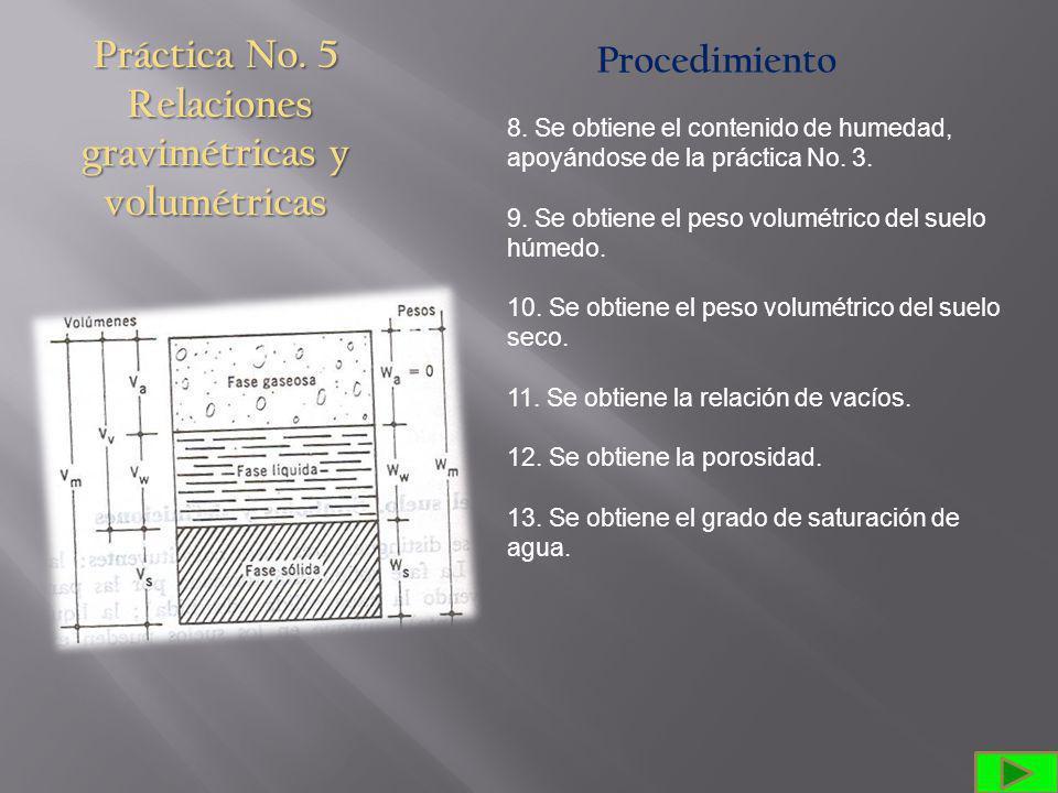 Práctica No.5 Relaciones gravimétricas y volumétricas Procedimiento 8.