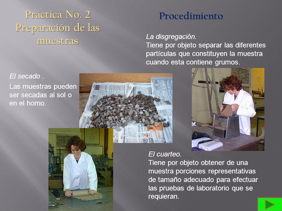 Práctica No.2 Preparación de las muestras Procedimiento El secado.