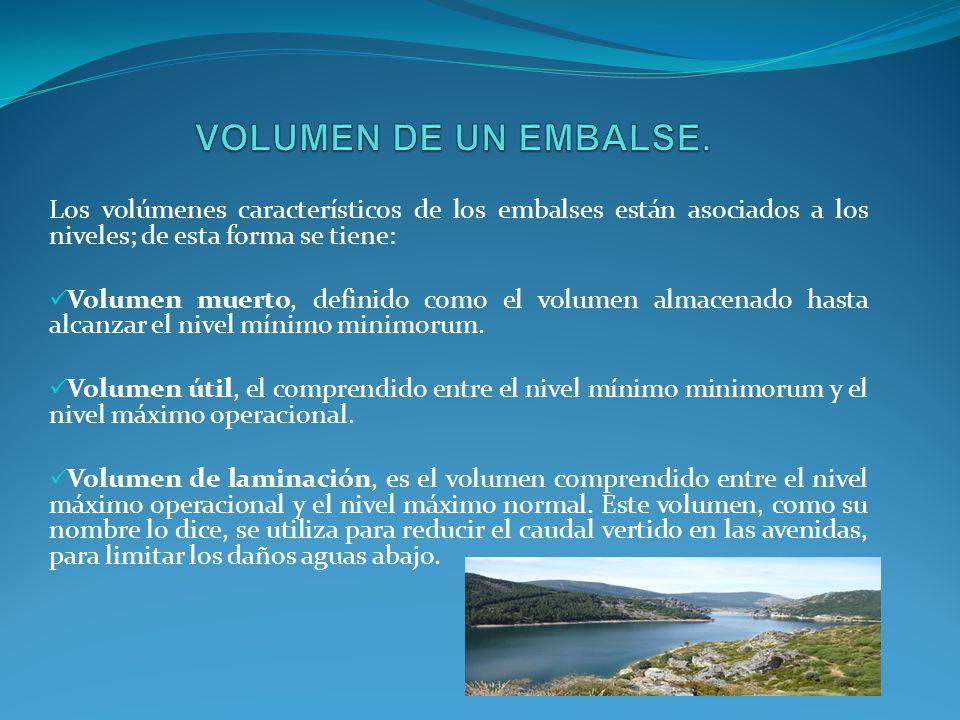 Los volúmenes característicos de los embalses están asociados a los niveles; de esta forma se tiene: Volumen muerto, definido como el volumen almacena