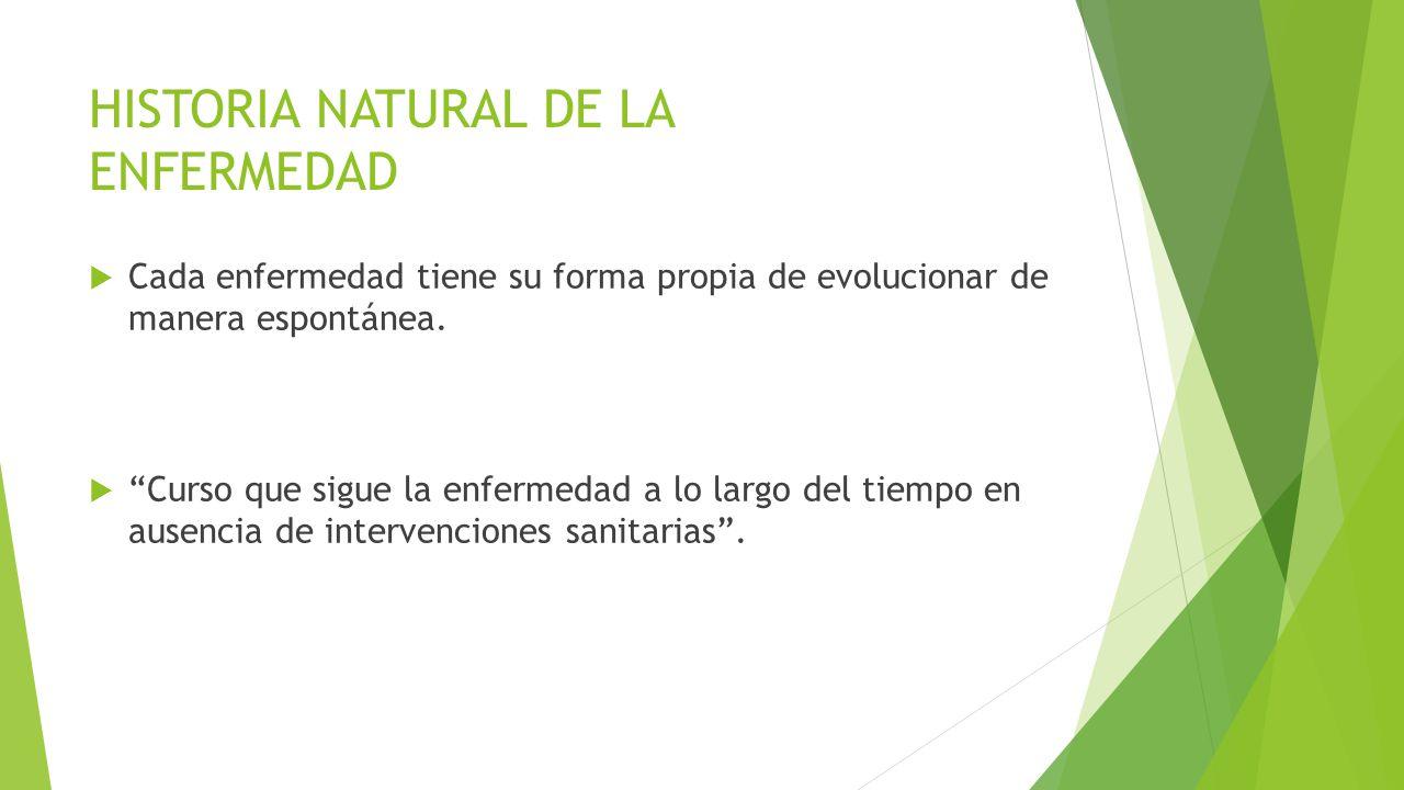 HISTORIA NATURAL DE LA ENFERMEDAD Cada enfermedad tiene su forma propia de evolucionar de manera espontánea. Curso que sigue la enfermedad a lo largo