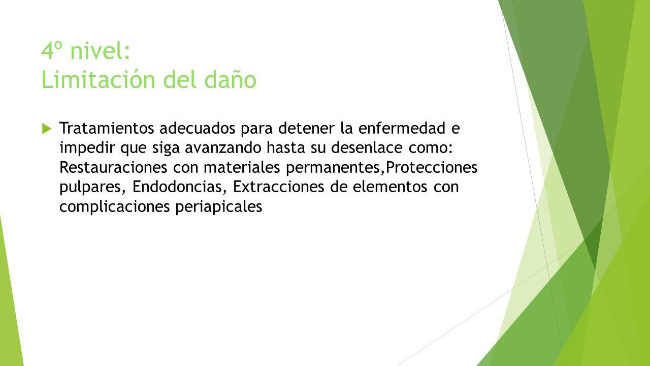 4º nivel: Limitación del daño Tratamientos adecuados para detener la enfermedad e impedir que siga avanzando hasta su desenlace como: Restauraciones c