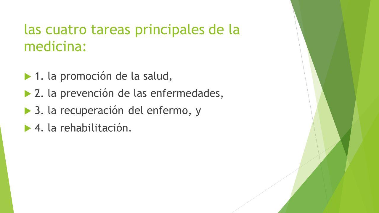 las cuatro tareas principales de la medicina: 1. la promoción de la salud, 2. la prevención de las enfermedades, 3. la recuperación del enfermo, y 4.