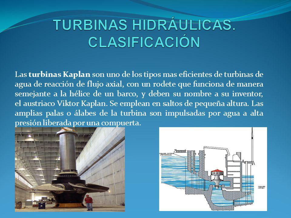 Las turbinas Kaplan son uno de los tipos mas eficientes de turbinas de agua de reacción de flujo axial, con un rodete que funciona de manera semejante