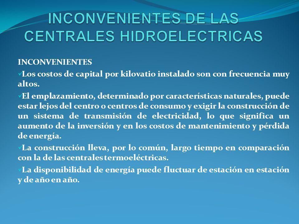 INCONVENIENTES Los costos de capital por kilovatio instalado son con frecuencia muy altos.